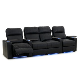 Octane Turbo XL700 Straight with Middle Loveseat/ Power Recline/ Black Bonded Leather Home Theater Seating (Row of 4)