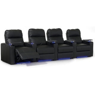 Octane Turbo XL700 Straight/ Manual Recline/ Black Bonded Leather Home Theater Seating (Row of 4)