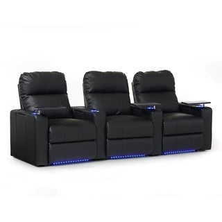 Octane Turbo XL700 Straight/ Manual Recline/ Black Bonded Leather Home Theater Seating (Row of 3)