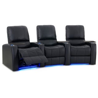 Octane Blaze XL900 Seats Curved/ Power Recline/ Black Premium Leather Home Theater Seating (Row of 3)