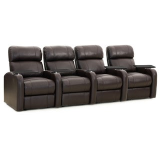Octane Diesel XS950 Seats Straight/ Power Recline/ Brown Premium Leather Home Theater Seating (Row of 4)