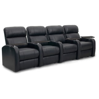 Octane Diesel XS950 Seats Straight/ Manual Recline/ Black Premium Leather Home Theater Seating (Row of 4)
