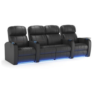 Octane Diesel XS950 Seats Straight with Middle Loveseat / Power Recline/ Black Premium Leather Home Theater Seating (Row of 4)