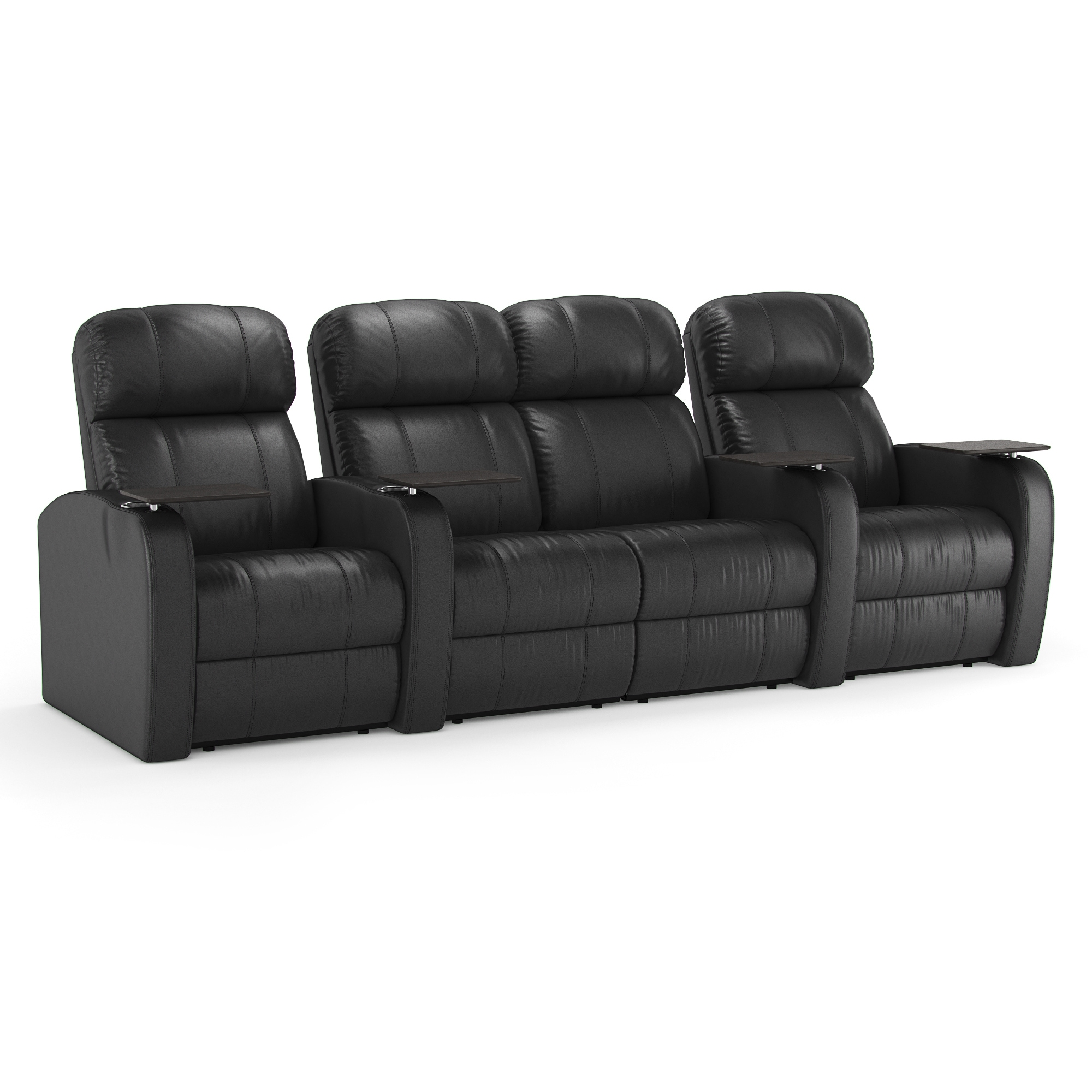 Octane Diesel Xs950 Black Leather Home Theater Seating Row Of 4 Overstock 10655677