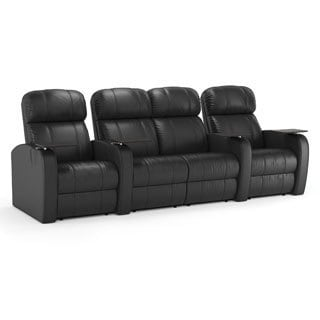 Octane Diesel XS950 Seats Straight with Middle Loveseat/ Manual Recline/ Black Premium Leather Home Theater Seating (Row of 4)