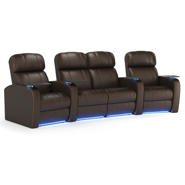Octane Diesel Xs950 Seats Curved With Middle Loveseat Power Recline Brown Premium Leather Home