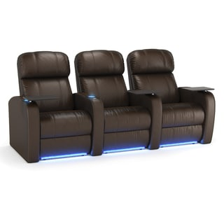 Octane Diesel XS950 Seats Straight/ Power Recline/ Brown Premium Leather Home Theater Seating (Row of 3)
