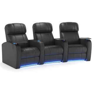 Octane Diesel XS950 Seats Curved/ Power Recline/ Black Premium Leather Home Theater Seating (Row of 3)