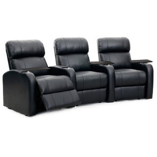 Octane Diesel XS950 Seats Curved/ Manual Recline/ Black Premium Leather Home Theater Seating (Row of 3)