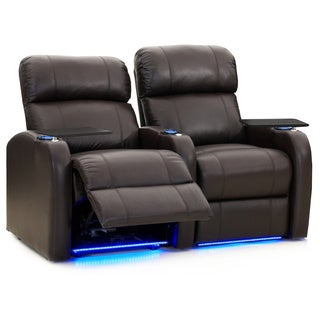 Octane Diesel XS950 Seats Straight/ Power Recline/ Brown Premium Leather Home Theater Seating (Row of 2)