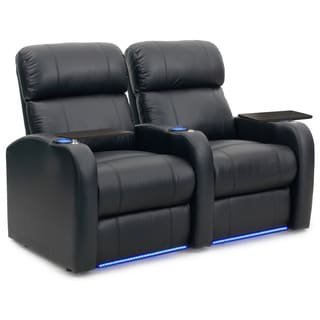 Octane Diesel XS950 Seats Straight/ Power Recline/ Black Premium Leather Home Theater Seating (Row of 2)