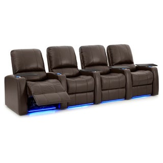 Octane Blaze XL900 Seats Straight/ Power Recline/ Brown Premium Leather Home Theater Seating (Row of 4)