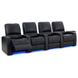 Octane Blaze XL900 Seats Straight/ Power Recline/ Black Premium Leather Home Theater Seating (Row of 4)
