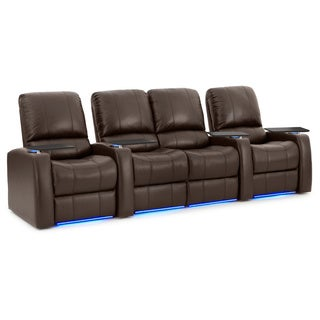 Octane Blaze XL900 Seats Straight with Middle Loveseat/ Power Recline/ Brown Premium Leather Home Theater Seating (Row of 4)