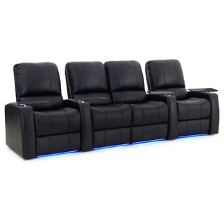 Octane Blaze XL900 Seats Straight with Middle Loveseat / Power Recline/ Black Premium Leather Home Theater Seating (Row of 4)
