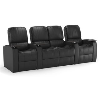 Octane Blaze XL900 Seats Straight with Middle Loveseat/ Manual Recline/ Black Premium Leather Home Theater Seating (Row of 4)