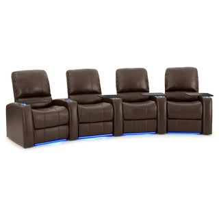 Octane Blaze XL900 Seats Curved/ Power Recline/ Brown Premium Leather Home Theater Seating (Row of 4)