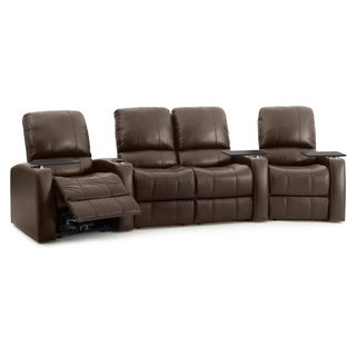 Octane Blaze XL900 Seats Curved with Middle Loveseat/ Power Recline/ Brown Premium Leather Home Theater Seating (Row of 4)
