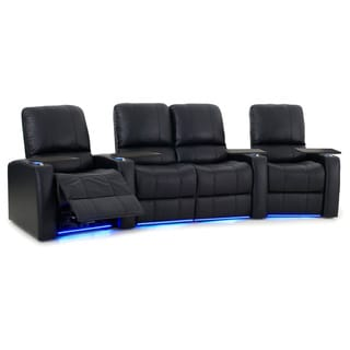 Octane Blaze XL900 Seats Curved with Middle Loveseat/ Power Recline/ Black Premium Leather Home Theater Seating (Row of 4)