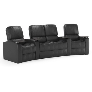 Octane Blaze XL900 Seats Curved with Middle Loveseat/ Manual Recline/ Black Premium Leather Home Theater Seating (Row of 4)
