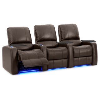 Octane Blaze XL900 Seats Straight/ Power Recline/ Brown Premium Leather Home Theater Seating (Row of 3)
