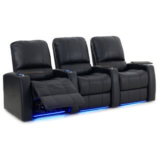 Octane Blaze XL900 Seats Straight/ Power Recline/ Black Premium Leather Home Theater Seating (Row of 3)