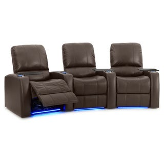 Octane Blaze XL900 Seats Curved/ Power Recline/ Brown Premium Leather Home Theater Seating (Row of 3)