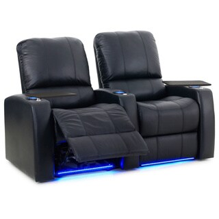 Octane Blaze XL900 Seats Straight/ Power Recline/ Black Premium Leather Home Theater Seating (Row of 2)