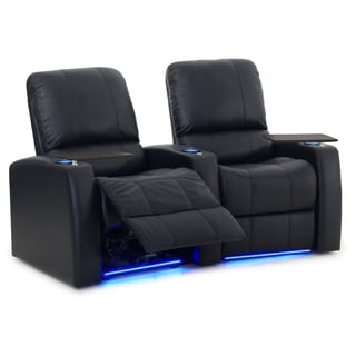 Octane Blaze XL900 Seats Curved/ Power Recline/ Black Premium Leather Home Theater Seating (Row of 2)