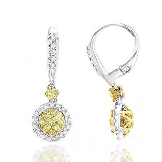 Luxurman 14k Gold 1 1/5ct TDW White and Yellow Diamond Drop Earrings (G-H, VS1-VS2)