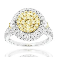 Luxurman 14k Gold 1 3/4ct TDW White and Yellow Cluster Diamond Ring