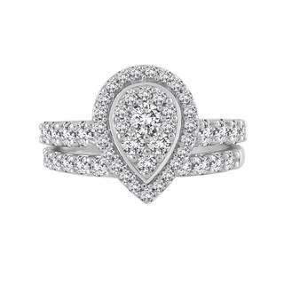 10k White Gold 1 1/2ct TDW Pear Composite Diamond Bridal Set