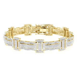 Luxurman 10k Gold 3 1/5ct TDW Pave Diamond Bracelet (H-I, SI1-SI2)