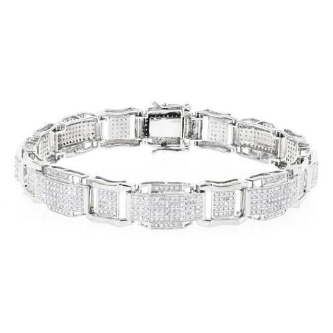 Luxurman 10k Gold Men's 3 2/5ct TDW Diamond Bracelet