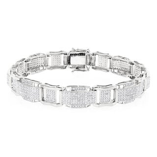 Luxurman 10k Gold Men's 3 2/5ct TDW Diamond Bracelet