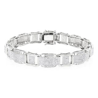 Luxurman 10k Gold Men's 3 2/5ct TDW Diamond Bracelet (H-I, SI1-SI2)