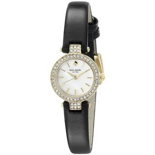Kate Spade Women's 1YRU0720 'New York Metro' Crystal Black Leather Watch
