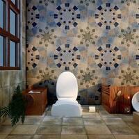 SomerTile 17.75x17.75-inch Cartaga Azul Ceramic Floor and Wall Tile (5 tiles/10.76 sqft.)