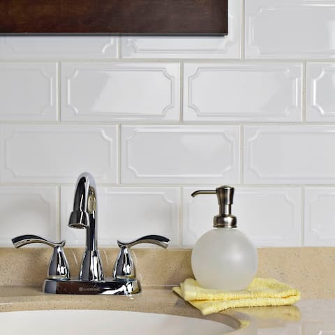 SomerTile 4x7.88-inch Thera Blanco Ceramic Wall Tile (50 tiles/12 sqft.)