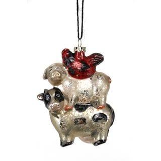 Antique Glass Cow Pig Hen Ornament 4.25-inch