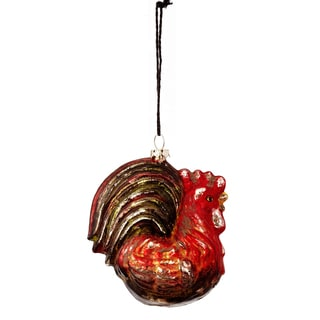 Antique Glass Rooster 4-inch Ornament