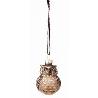 Antique Glass Chubby Owl Ornament 2.75-inch