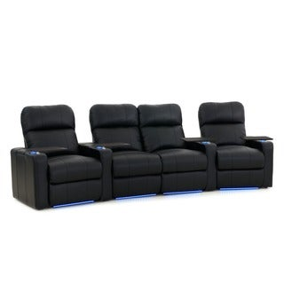 Octane Turbo XL700 Curved with Middle Loveseat/ Power Recline/ Black Bonded Leather Home Theater Seating (Row of 4)