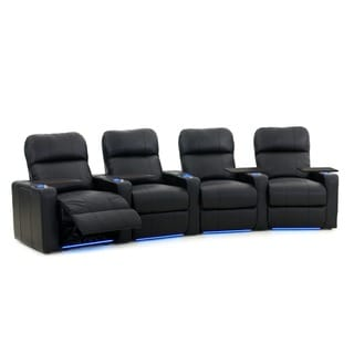 Octane Turbo XL700 Curved/ Power Recline/ Black Bonded Leather Home Theater Seating (Row of 4)