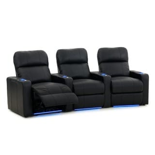Octane Turbo XL700 Curved/ Power Recline/ Black Bonded Leather Home Theater Seating (Row of 3)