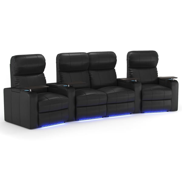 Octane turbo xl700 curved with middle loveseat manual recline black bonded leather home Loveseat theater seating