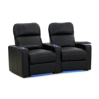 Octane Turbo XL700 Curved/ Power Recline/ Black Premium Leather Home Theater Seating (Row of 2)
