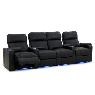 Octane Turbo XL700 Straight with Middle Loveseat/ Power Recline/ Black Premium Leather Home Theater Seating (Row of 4)