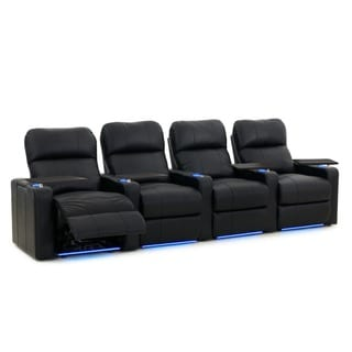 Octane Turbo XL700 Straight/ Power Recline/ Black Premium Leather Home Theater Seating (Row of 4)