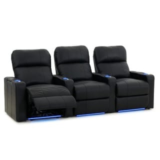 Octane Turbo XL700 Straight/ Power Recline/ Black Premium Leather Home Theater Seating (Row of 3)